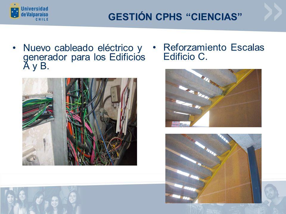 Nuevo cableado eléctrico y generador para los Edificios A y B. Reforzamiento Escalas Edificio C. GESTIÓN CPHS CIENCIAS