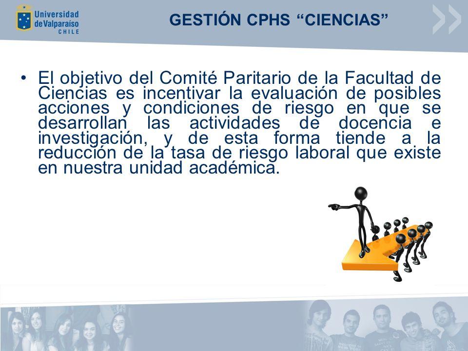 GESTIÓN CPHS CIENCIAS El objetivo del Comité Paritario de la Facultad de Ciencias es incentivar la evaluación de posibles acciones y condiciones de ri