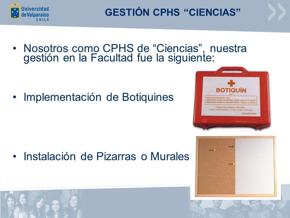 GESTIÓN CPHS CIENCIAS Nosotros como CPHS de Ciencias, nuestra gestión en la Facultad fue la siguiente: Implementación de Botiquines Instalación de Pizarras o Murales