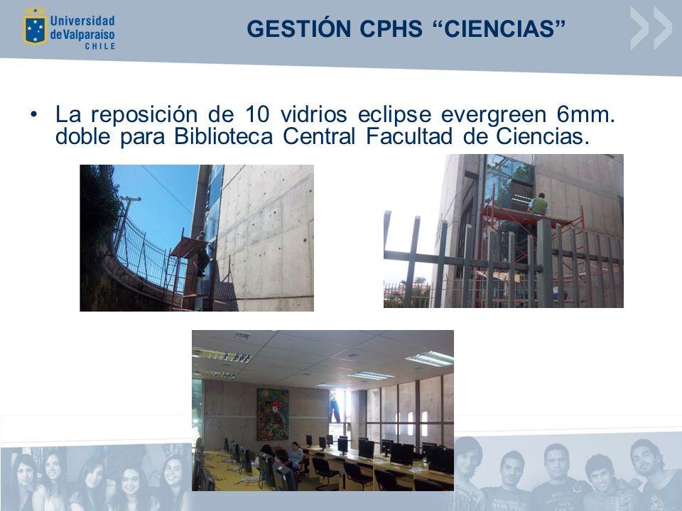 GESTIÓN CPHS CIENCIAS La reposición de 10 vidrios eclipse evergreen 6mm. doble para Biblioteca Central Facultad de Ciencias.