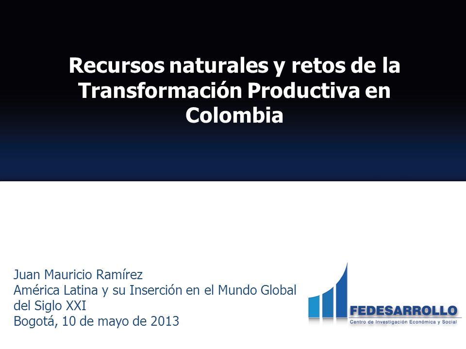 Juan Mauricio Ramírez América Latina y su Inserción en el Mundo Global del Siglo XXI Bogotá, 10 de mayo de 2013 Recursos naturales y retos de la Transformación Productiva en Colombia