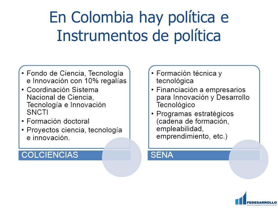 En Colombia hay política e Instrumentos de política Fondo de Ciencia, Tecnología e Innovación con 10% regalías Coordinación Sistema Nacional de Ciencia, Tecnología e Innovación SNCTI Formación doctoral Proyectos ciencia, tecnología e innovación.