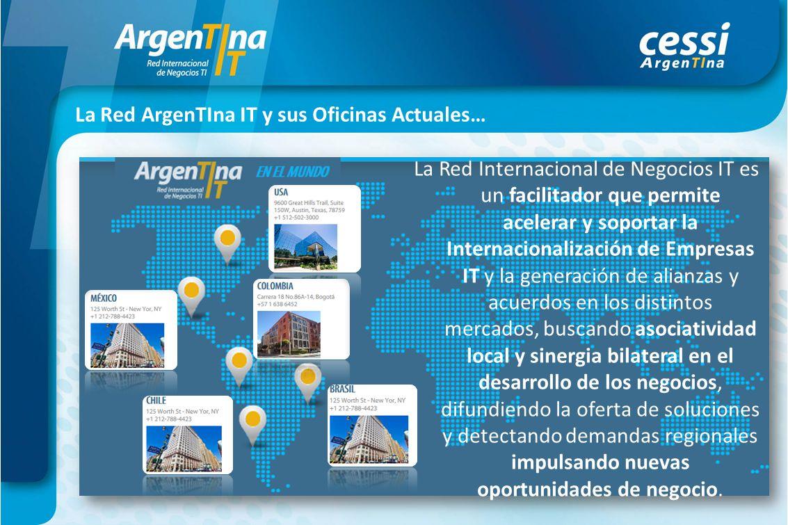 La Red ArgenTIna IT y sus Oficinas Actuales… La Red Internacional de Negocios IT es un facilitador que permite acelerar y soportar la Internacionaliza