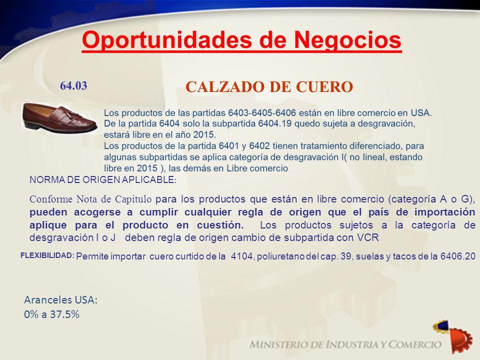 CALZADO DE CUERO NORMA DE ORIGEN APLICABLE : Conforme Nota de Capitulo para los productos que están en libre comercio (categoría A o G), pueden acoger
