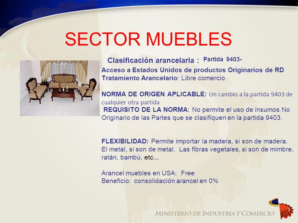 Clasificación arancelaria : Partida 9403- Acceso a Estados Unidos de productos Originarios de RD Tratamiento Arancelario: Libre comercio NORMA DE ORIG