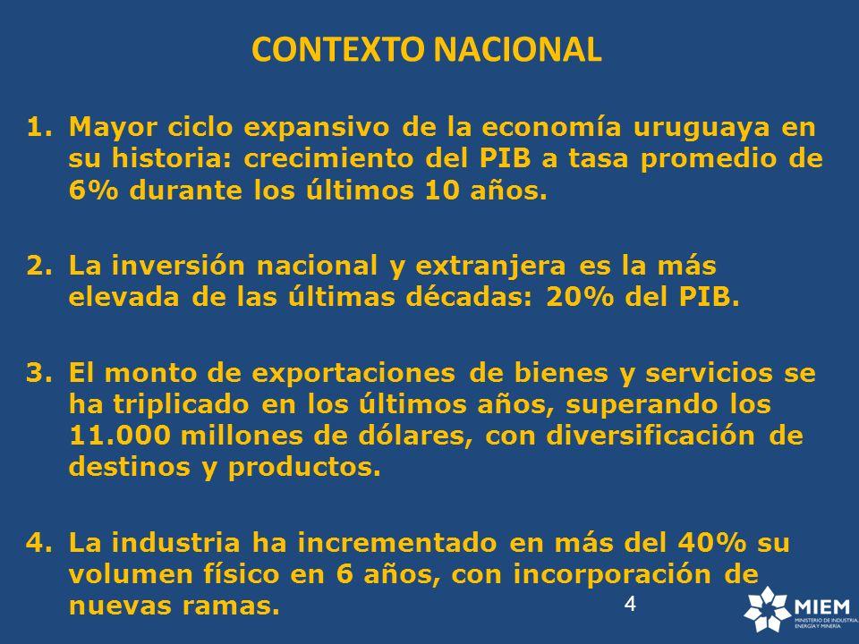 4 CONTEXTO NACIONAL 1.Mayor ciclo expansivo de la economía uruguaya en su historia: crecimiento del PIB a tasa promedio de 6% durante los últimos 10 a
