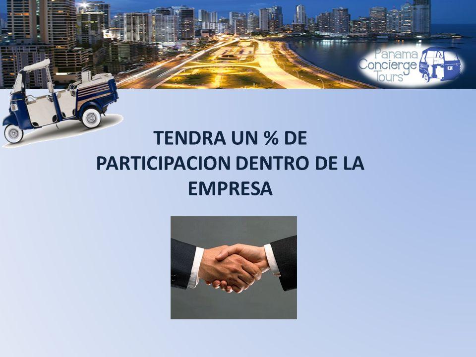 TENDRA UN % DE PARTICIPACION DENTRO DE LA EMPRESA