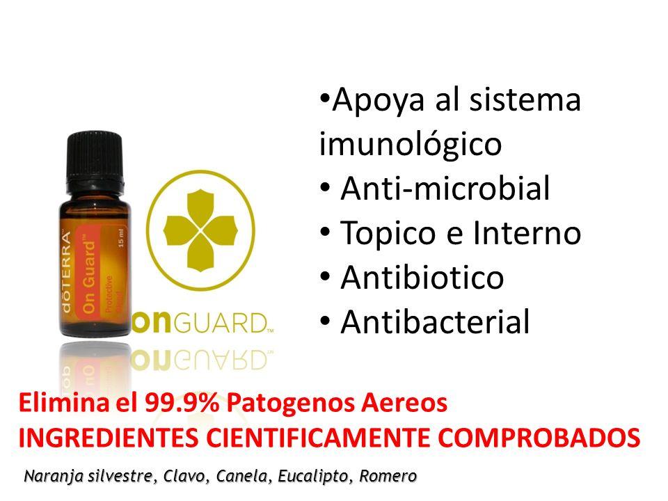 Naranja silvestre, Clavo, Canela, Eucalipto, Romero Apoya al sistema imunológico Anti-microbial Topico e Interno Antibiotico Antibacterial Elimina el 99.9% Patogenos Aereos INGREDIENTES CIENTIFICAMENTE COMPROBADOS