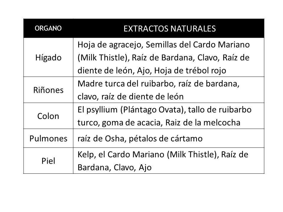 ORGANO EXTRACTOS NATURALES Hígado Hoja de agracejo, Semillas del Cardo Mariano (Milk Thistle), Raíz de Bardana, Clavo, Raíz de diente de león, Ajo, Hoja de trébol rojo Riñones Madre turca del ruibarbo, raíz de bardana, clavo, raíz de diente de león Colon El psyllium (Plántago Ovata), tallo de ruibarbo turco, goma de acacia, Raiz de la melcocha Pulmones raíz de Osha, pétalos de cártamo Piel Kelp, el Cardo Mariano (Milk Thistle), Raíz de Bardana, Clavo, Ajo