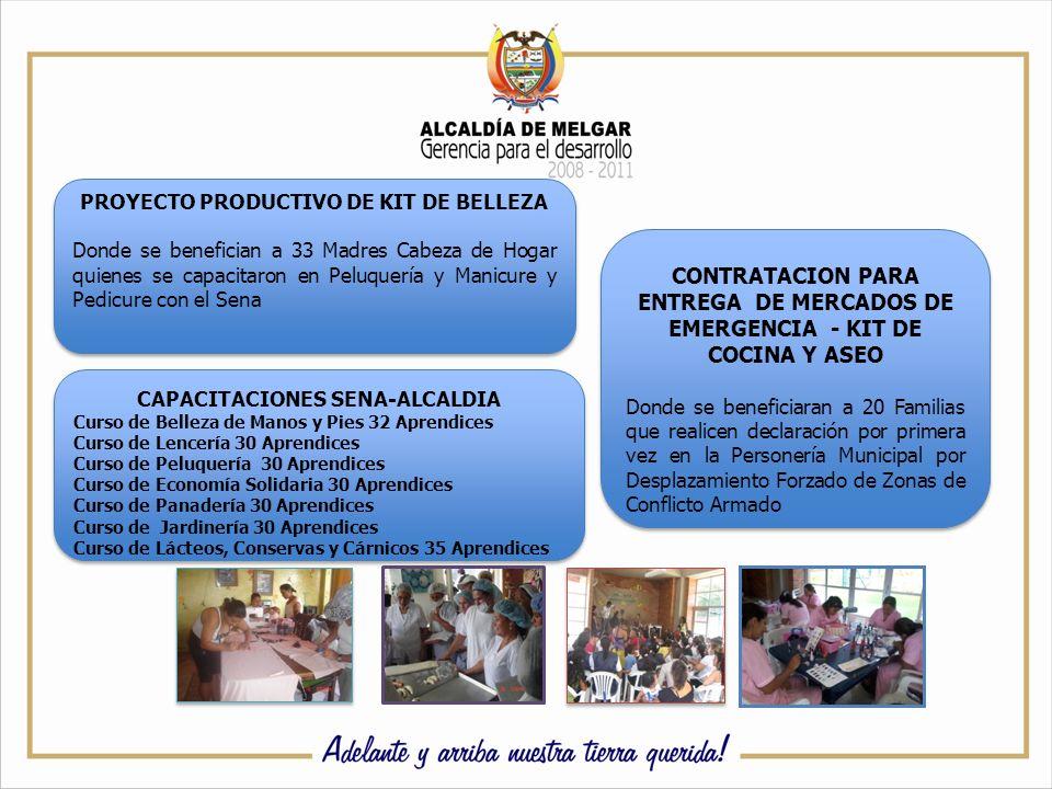 PROYECTO PRODUCTIVO DE KIT DE BELLEZA Donde se benefician a 33 Madres Cabeza de Hogar quienes se capacitaron en Peluquería y Manicure y Pedicure con el Sena PROYECTO PRODUCTIVO DE KIT DE BELLEZA Donde se benefician a 33 Madres Cabeza de Hogar quienes se capacitaron en Peluquería y Manicure y Pedicure con el Sena CONTRATACION PARA ENTREGA DE MERCADOS DE EMERGENCIA - KIT DE COCINA Y ASEO Donde se beneficiaran a 20 Familias que realicen declaración por primera vez en la Personería Municipal por Desplazamiento Forzado de Zonas de Conflicto Armado CONTRATACION PARA ENTREGA DE MERCADOS DE EMERGENCIA - KIT DE COCINA Y ASEO Donde se beneficiaran a 20 Familias que realicen declaración por primera vez en la Personería Municipal por Desplazamiento Forzado de Zonas de Conflicto Armado CAPACITACIONES SENA-ALCALDIA Curso de Belleza de Manos y Pies 32 Aprendices Curso de Lencería 30 Aprendices Curso de Peluquería 30 Aprendices Curso de Economía Solidaria 30 Aprendices Curso de Panadería 30 Aprendices Curso de Jardinería 30 Aprendices Curso de Lácteos, Conservas y Cárnicos 35 Aprendices CAPACITACIONES SENA-ALCALDIA Curso de Belleza de Manos y Pies 32 Aprendices Curso de Lencería 30 Aprendices Curso de Peluquería 30 Aprendices Curso de Economía Solidaria 30 Aprendices Curso de Panadería 30 Aprendices Curso de Jardinería 30 Aprendices Curso de Lácteos, Conservas y Cárnicos 35 Aprendices