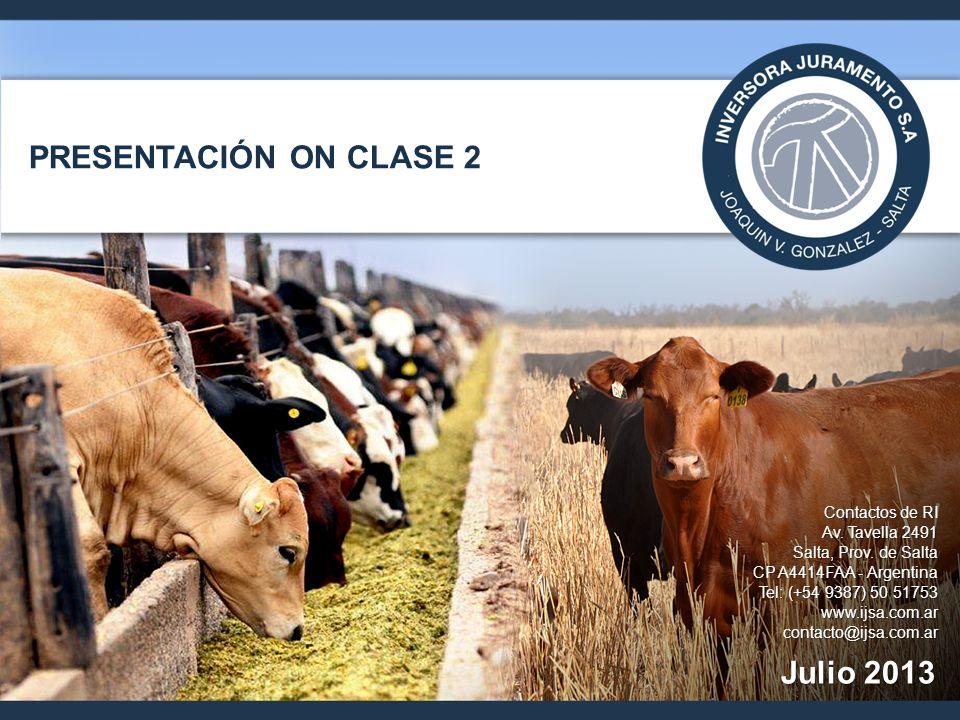 Descripción de la Compañía 12 Inversora Juramento es una compañía ubicada en Salta, dedicada a la producción, industrialización y comercialización de carne vacuna y a la producción agrícola, que cuenta con un conjunto de fincas de 82 mil has y con 65.750 cabezas de ganado Integrada en todas las fases del negocio: »producción agrícola para el engorde de ganado »producción ganadera en todas sus fases (cría, recría y feedlot) »procesamiento de carne a través de su controlada Frigorífico Bermejo S.A.