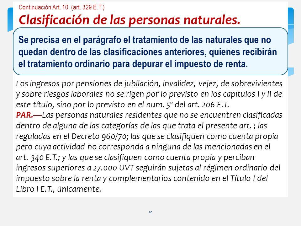 Continuación Art. 10. (art. 329 E.T.) Clasificación de las personas naturales. Los ingresos por pensiones de jubilación, invalidez, vejez, de sobreviv