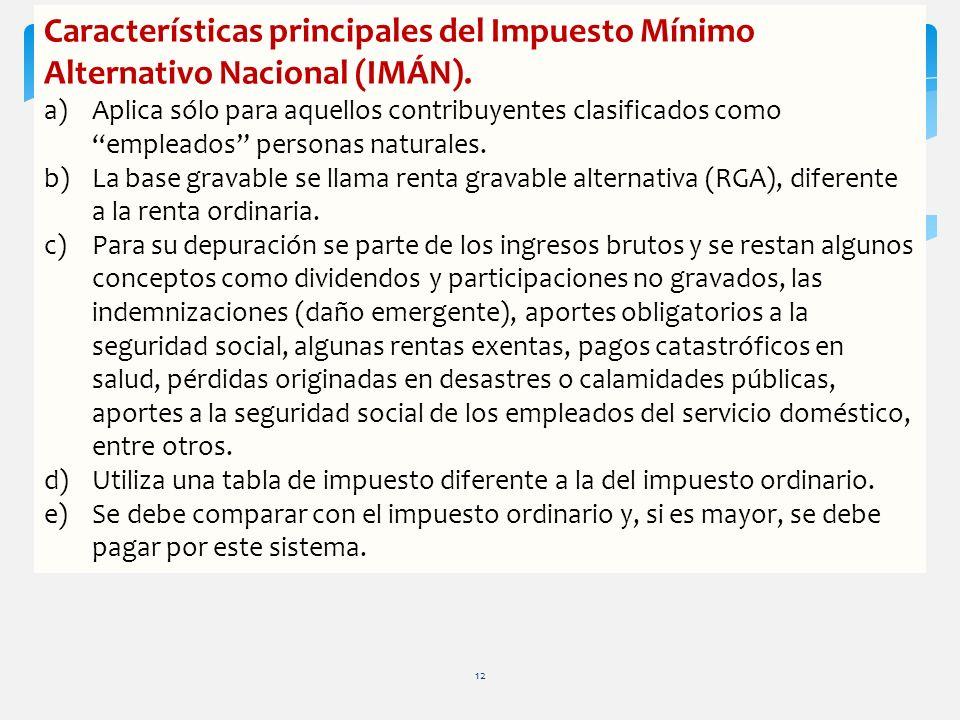 Características principales del Impuesto Mínimo Alternativo Nacional (IMÁN). a)Aplica sólo para aquellos contribuyentes clasificados como empleados pe
