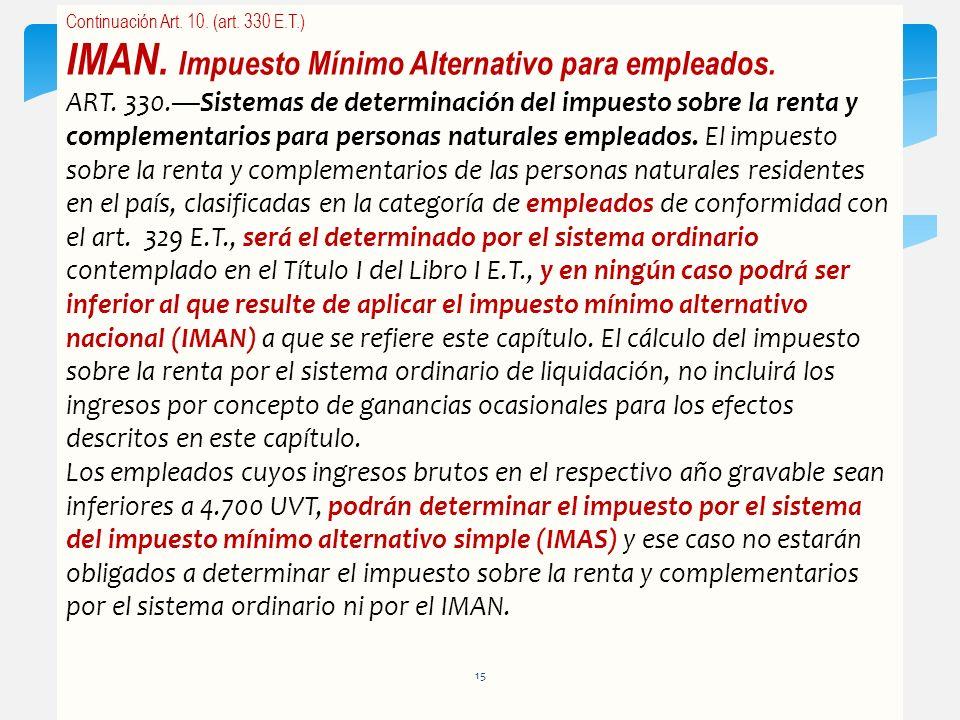 Continuación Art. 10. (art. 330 E.T.) IMAN. Impuesto Mínimo Alternativo para empleados. ART. 330.Sistemas de determinación del impuesto sobre la renta