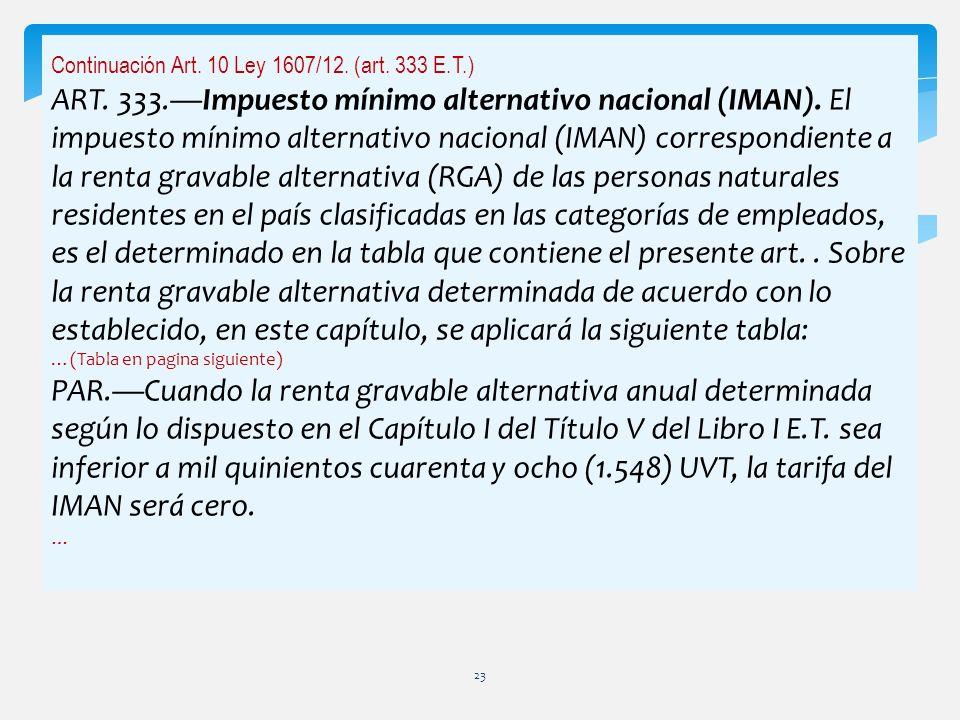 Continuación Art. 10 Ley 1607/12. (art. 333 E.T.) ART. 333.Impuesto mínimo alternativo nacional (IMAN). El impuesto mínimo alternativo nacional (IMAN)