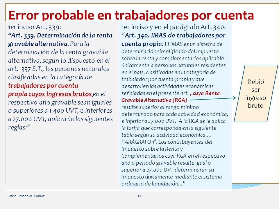 Error probable en trabajadores por cuenta propia Jairo Casanova Muñoz34 1er inciso Art. 339: Art. 339. Determinación de la renta gravable alternativa.