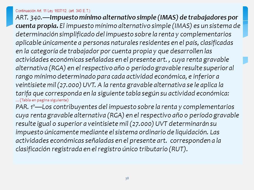 Continuación Art. 11 Ley 1607/12. (art. 340 E.T.) ART. 340.Impuesto mínimo alternativo simple (IMAS) de trabajadores por cuenta propia. El impuesto mí
