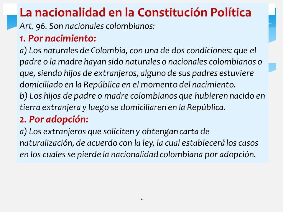 4 La nacionalidad en la Constitución Política Art. 96. Son nacionales colombianos: 1. Por nacimiento: a) Los naturales de Colombia, con una de dos con
