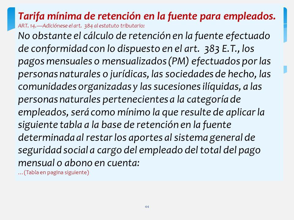 Tarifa mínima de retención en la fuente para empleados. ART. 14.Adiciónese el art. 384 al estatuto tributario: No obstante el cálculo de retención en