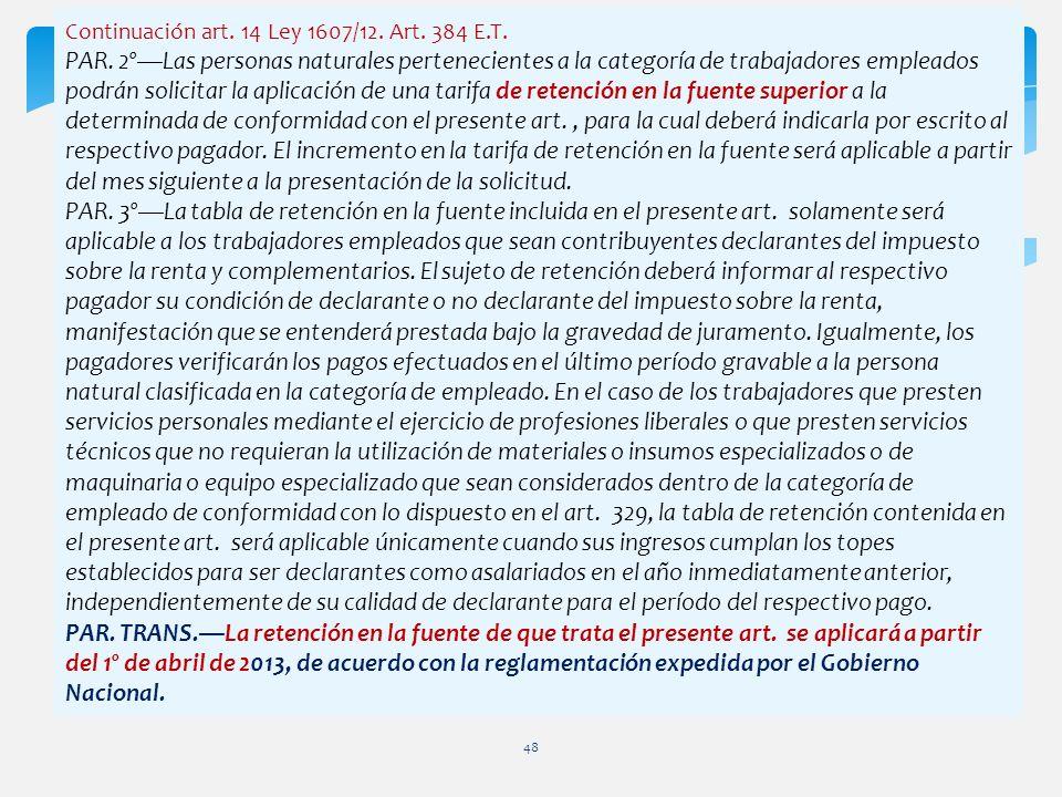 Continuación art. 14 Ley 1607/12. Art. 384 E.T. PAR. 2ºLas personas naturales pertenecientes a la categoría de trabajadores empleados podrán solicitar