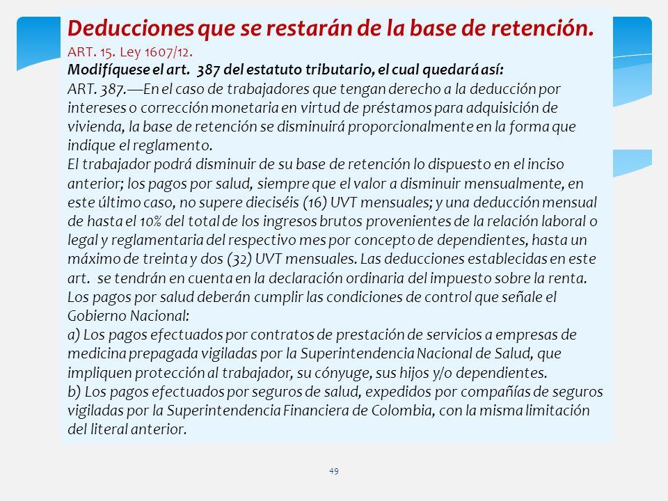 Deducciones que se restarán de la base de retención. ART. 15. Ley 1607/12. Modifíquese el art. 387 del estatuto tributario, el cual quedará así: ART.