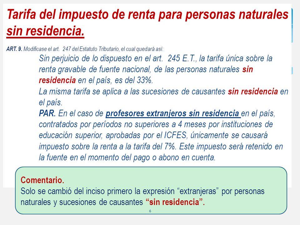 Tarifa del impuesto de renta para personas naturales sin residencia. ART. 9. Modificase el art. 247 del Estatuto Tributario, el cual quedará así: Sin