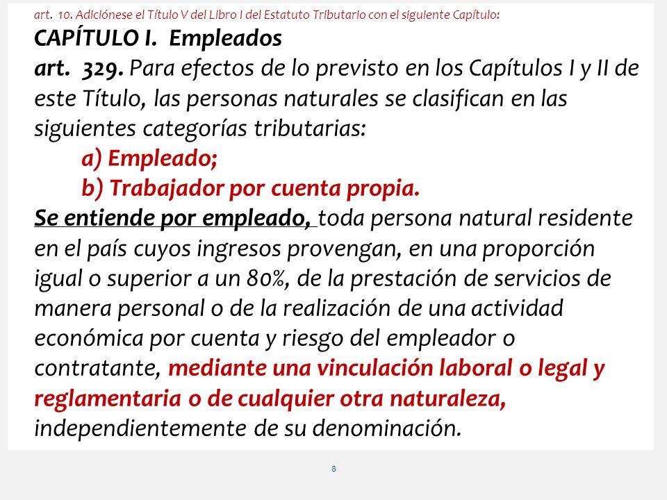 Continuación Art.10. (art. 329 E.T.) Clasificación de las personas naturales.