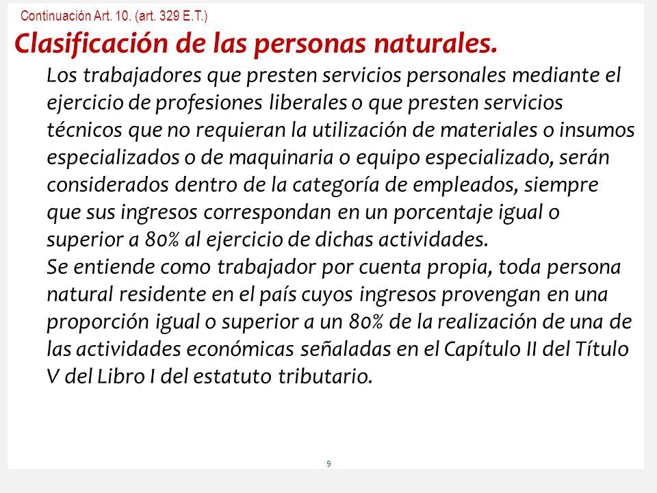 Continuación Art. 10. (art. 329 E.T.) Clasificación de las personas naturales. Los trabajadores que presten servicios personales mediante el ejercicio