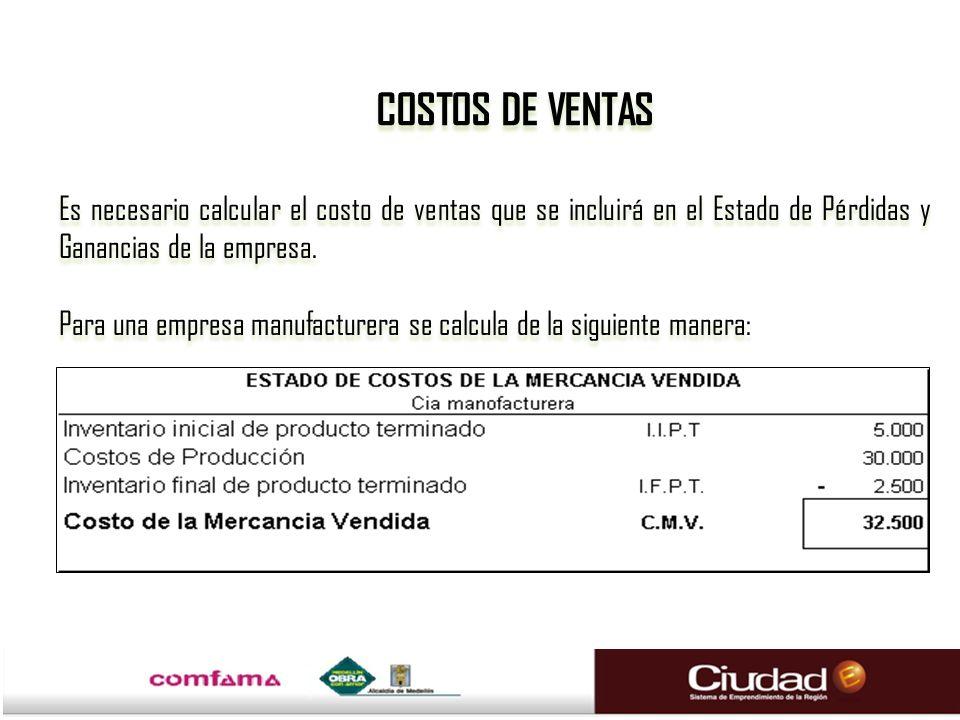 Es necesario calcular el costo de ventas que se incluirá en el Estado de Pérdidas y Ganancias de la empresa. Para una empresa manufacturera se calcula