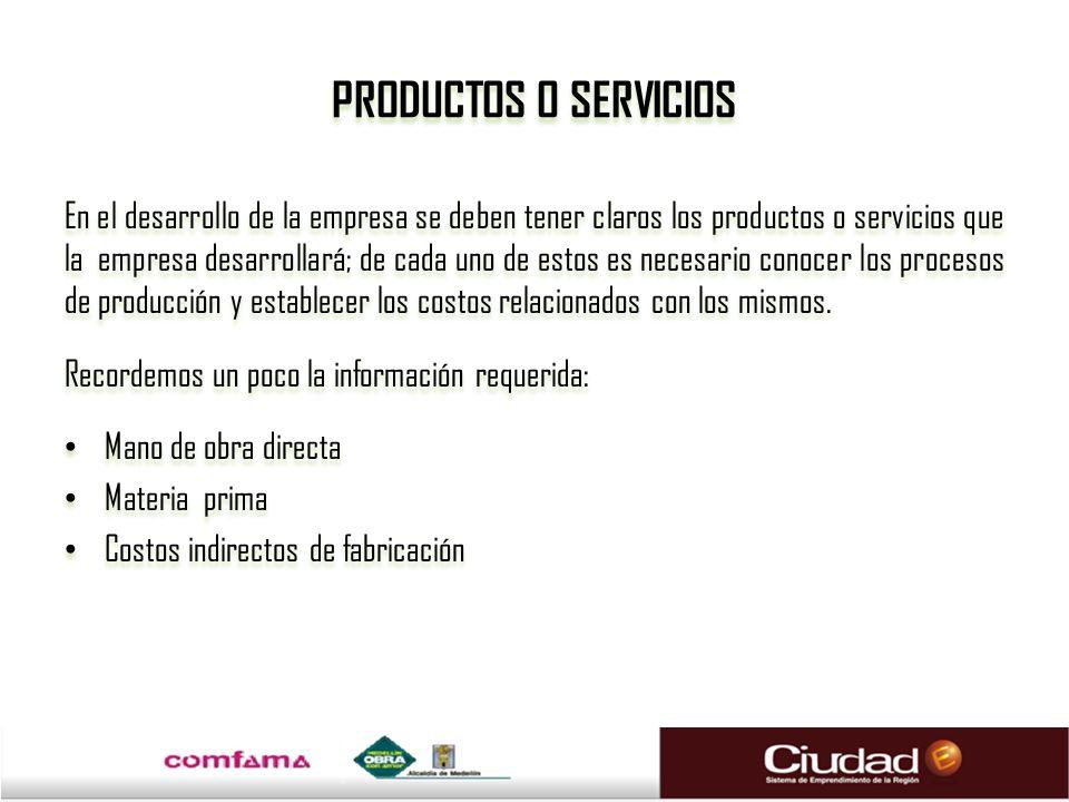 PRODUCTOS O SERVICIOS En el desarrollo de la empresa se deben tener claros los productos o servicios que la empresa desarrollará; de cada uno de estos