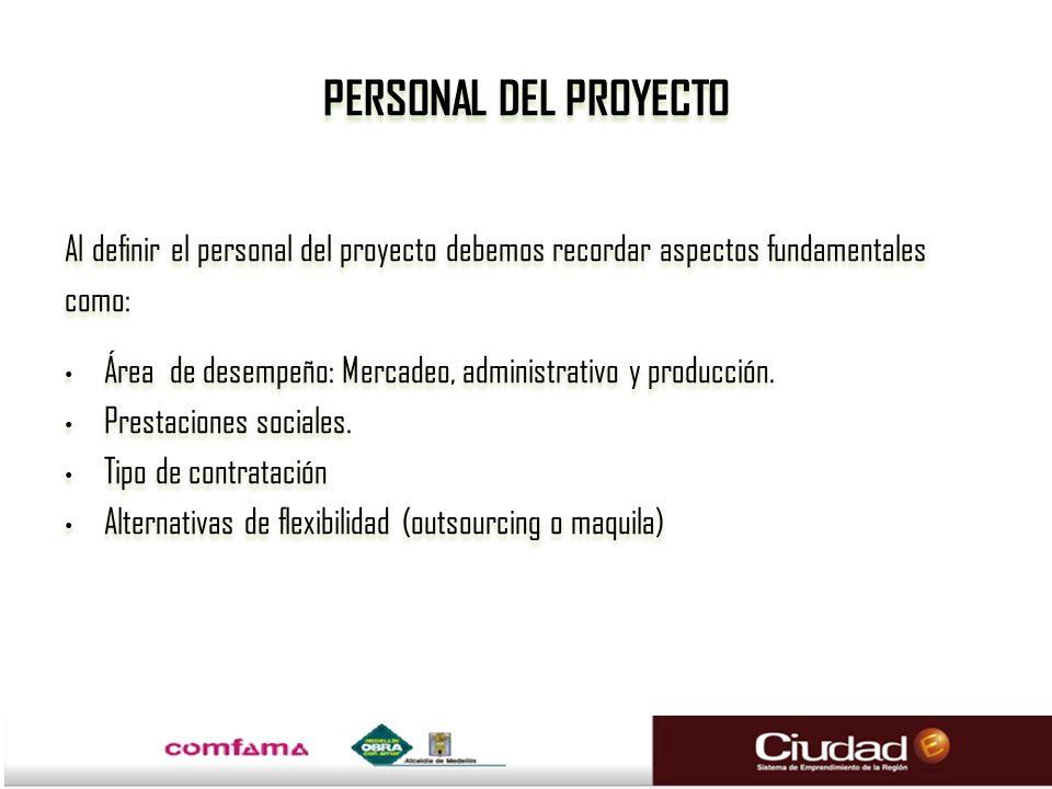 PERSONAL DEL PROYECTO Al definir el personal del proyecto debemos recordar aspectos fundamentales como: Área de desempeño: Mercadeo, administrativo y