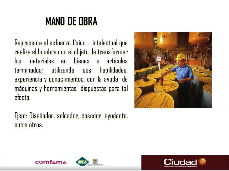 MANO DE OBRA Representa el esfuerzo físico – intelectual que realiza el hombre con el objeto de transformar los materiales en bienes o artículos termi