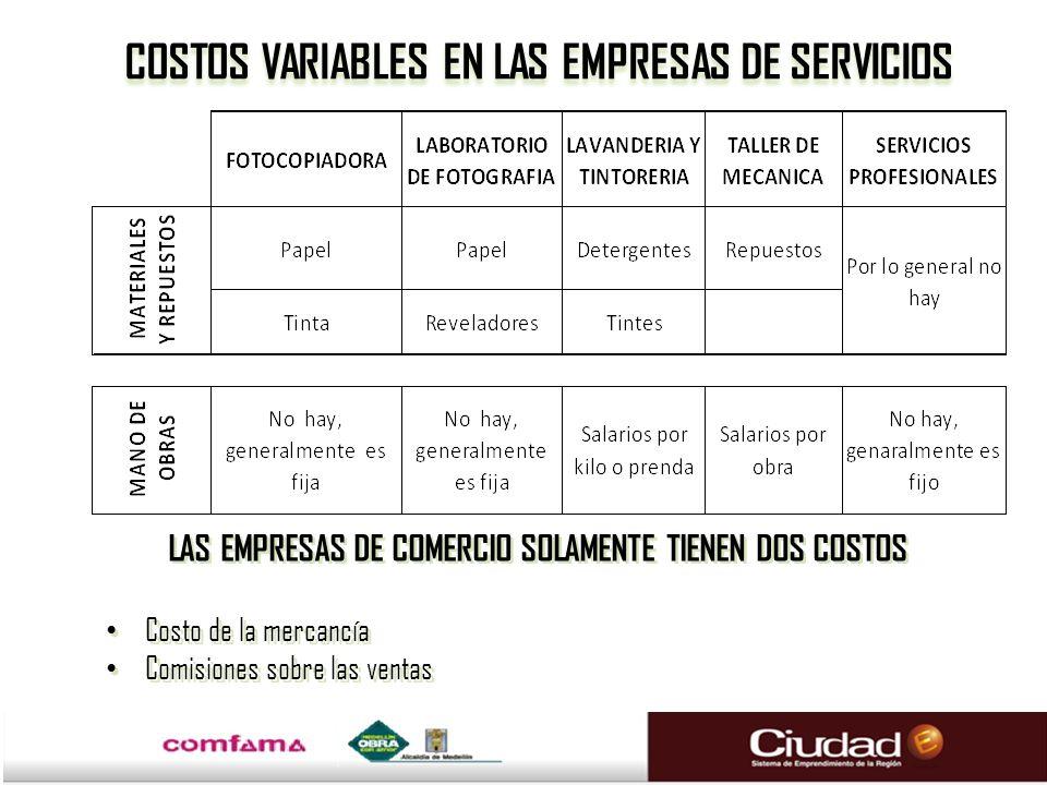 COSTOS VARIABLES EN LAS EMPRESAS DE SERVICIOS LAS EMPRESAS DE COMERCIO SOLAMENTE TIENEN DOS COSTOS Costo de la mercancía Comisiones sobre las ventas L