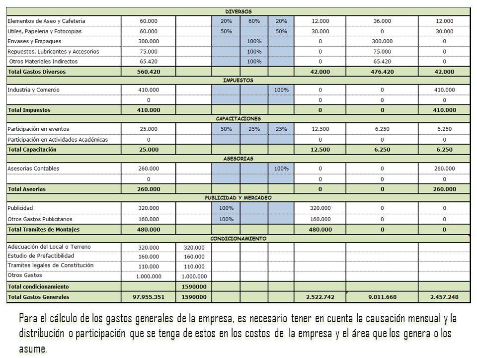 Para el cálculo de los gastos generales de la empresa, es necesario tener en cuenta la causación mensual y la distribución o participación que se teng