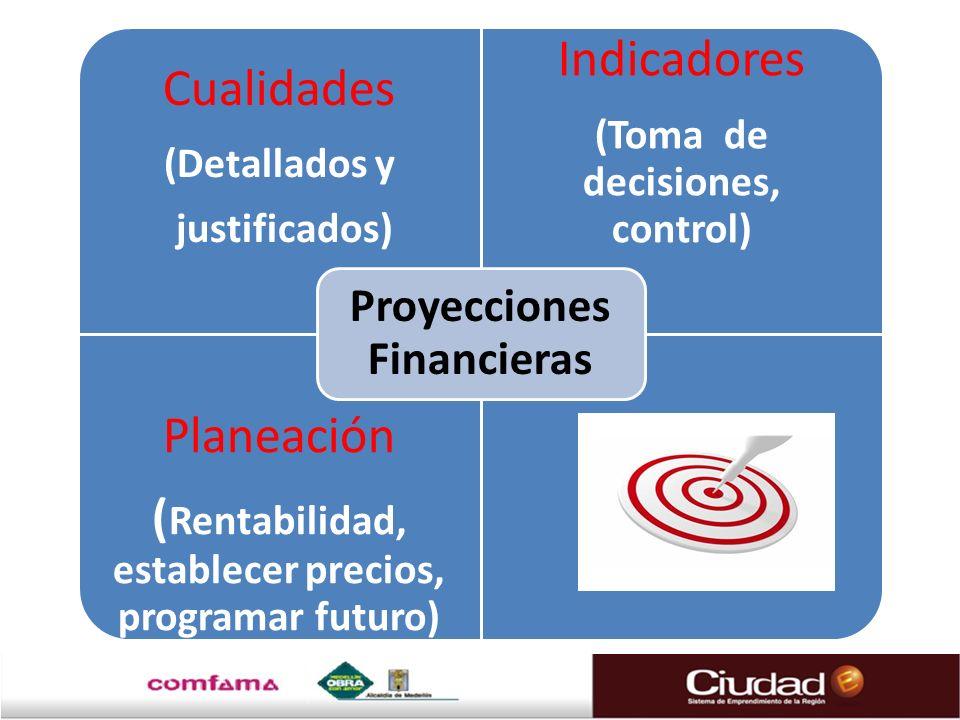 Cualidades (Detallados y justificados) Indicadores (Toma de decisiones, control) Planeación ( Rentabilidad, establecer precios, programar futuro) Proy