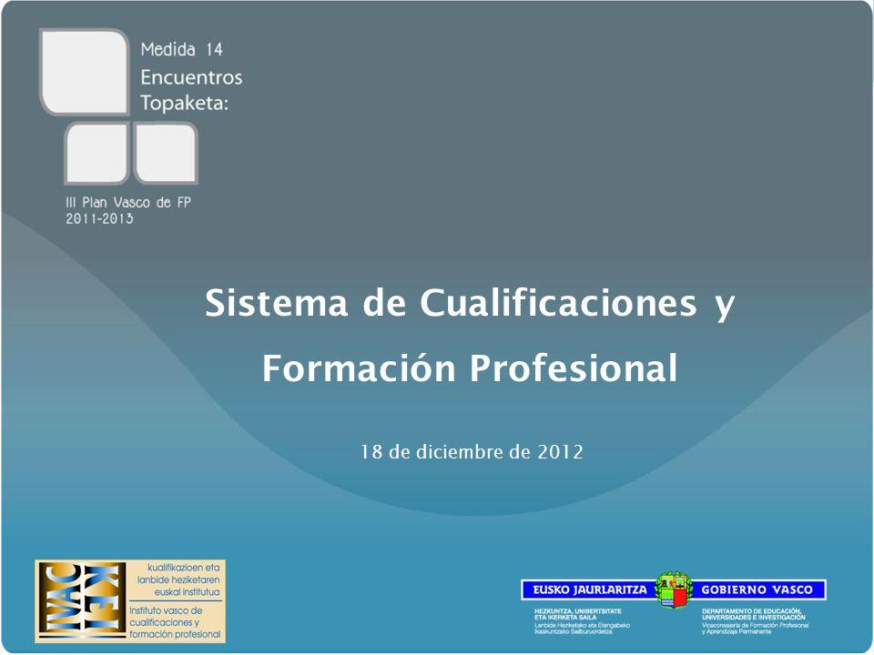 Sistema de Cualificaciones y Formación Profesional 18 de diciembre de 2012