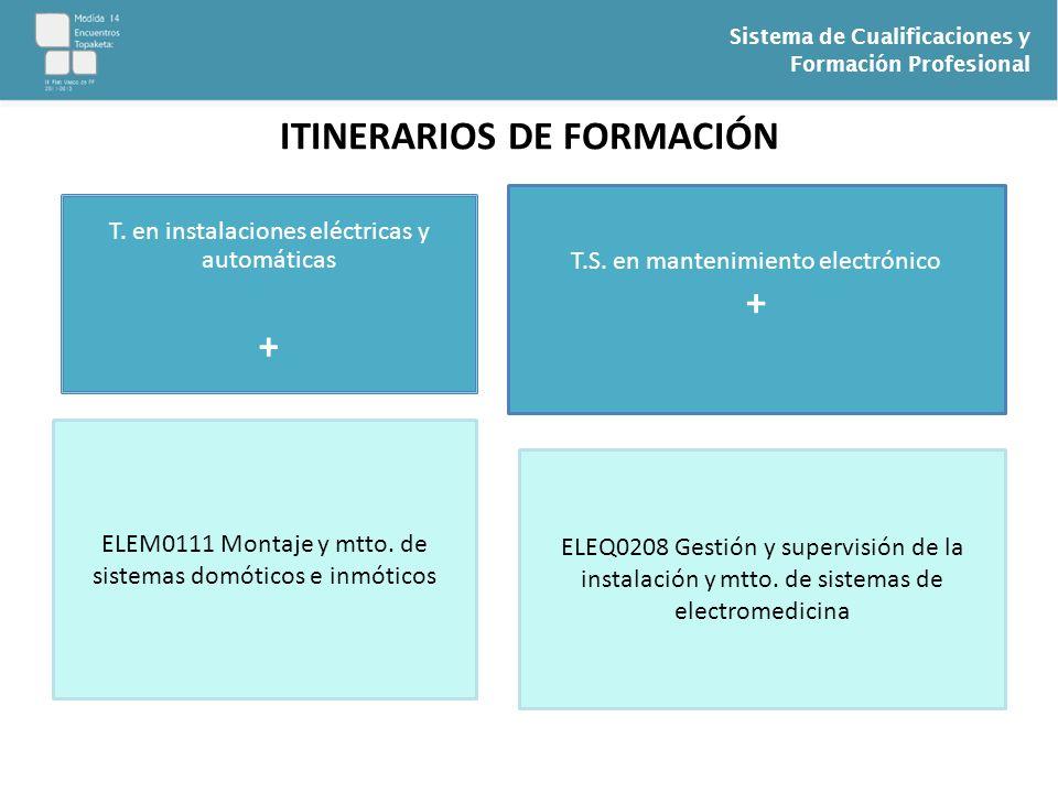 Sistema de Cualificaciones y Formación Profesional ITINERARIOS DE FORMACIÓN T. en instalaciones eléctricas y automáticas + ELEM0111 Montaje y mtto. de