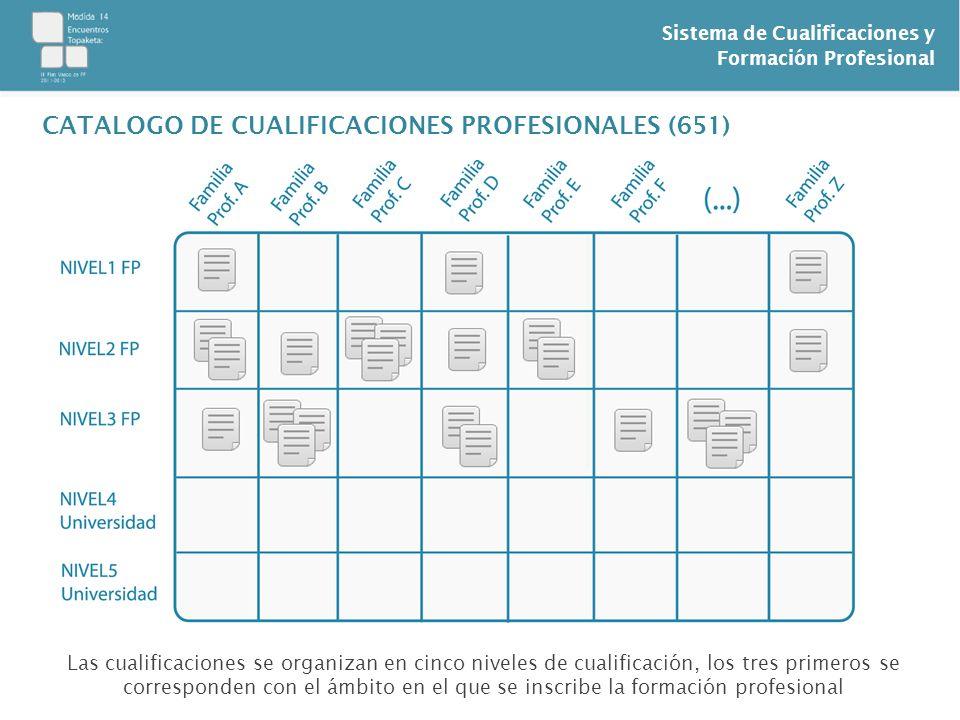 Sistema de Cualificaciones y Formación Profesional CATALOGO DE CUALIFICACIONES PROFESIONALES (651) Las cualificaciones se organizan en cinco niveles d