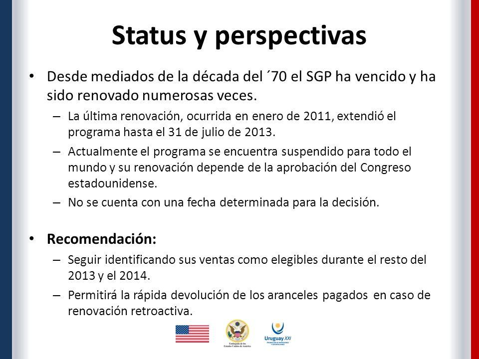 Status y perspectivas Desde mediados de la década del ´70 el SGP ha vencido y ha sido renovado numerosas veces.