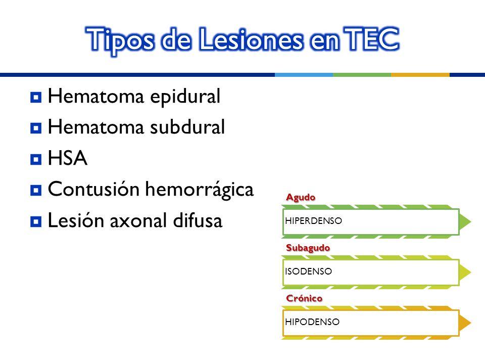Hematoma epidural Hematoma subdural HSA Contusión hemorrágica Lesión axonal difusaAgudo HIPERDENSO Subagudo ISODENSO Crónico HIPODENSO