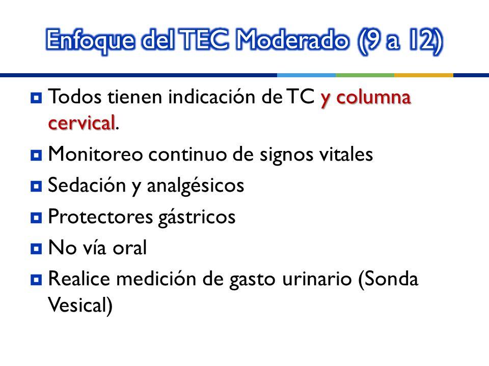 y columna cervical Todos tienen indicación de TC y columna cervical.