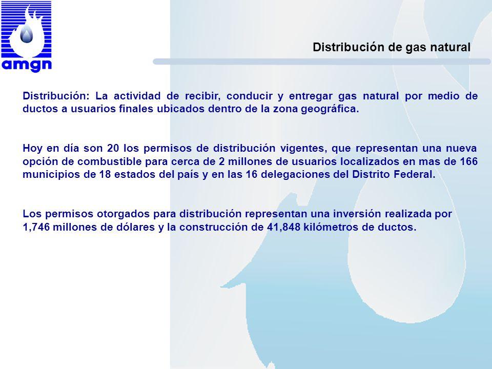 Distribución de gas natural Distribución: La actividad de recibir, conducir y entregar gas natural por medio de ductos a usuarios finales ubicados den