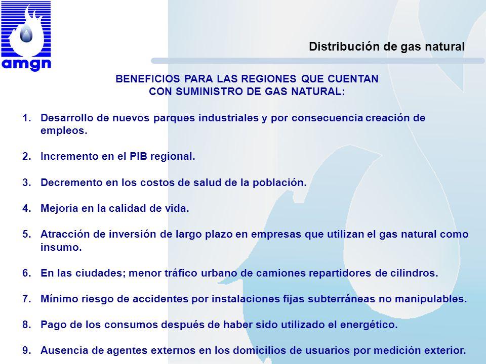 Distribución de gas natural BENEFICIOS PARA LAS REGIONES QUE CUENTAN CON SUMINISTRO DE GAS NATURAL: 1.Desarrollo de nuevos parques industriales y por