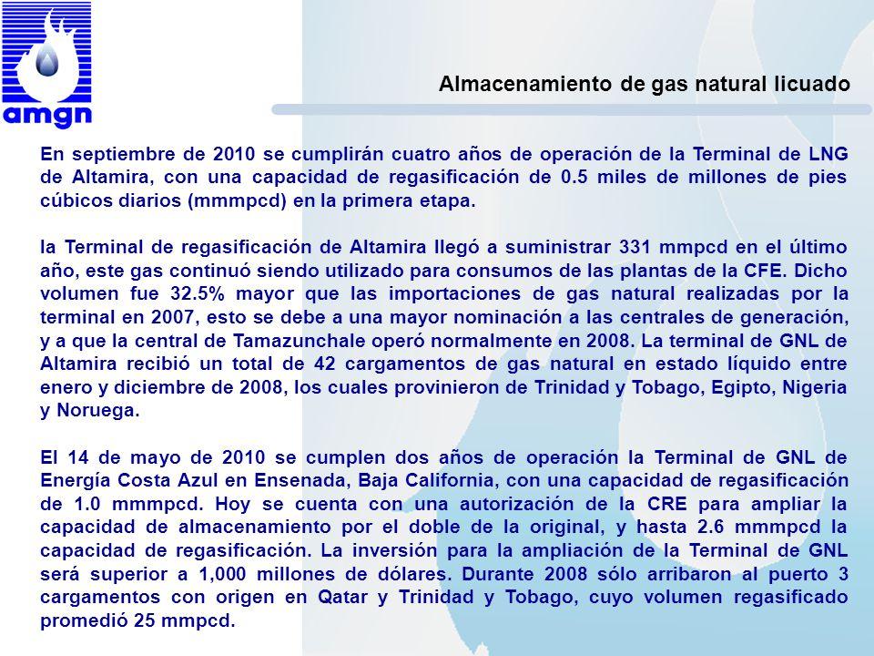 Almacenamiento de gas natural licuado En septiembre de 2010 se cumplirán cuatro años de operación de la Terminal de LNG de Altamira, con una capacidad