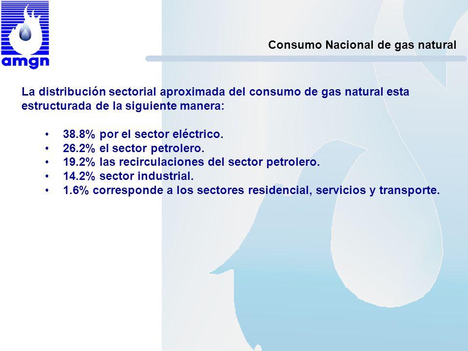 Consumo Nacional de gas natural La distribución sectorial aproximada del consumo de gas natural esta estructurada de la siguiente manera: 38.8% por el