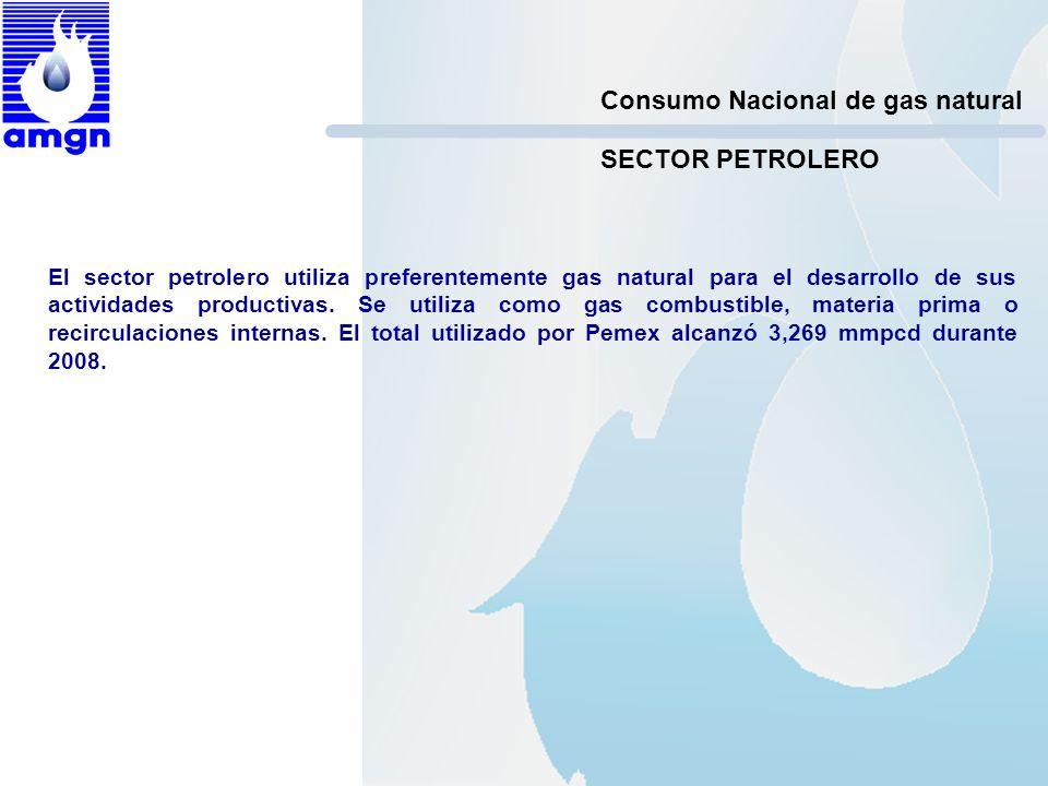 Consumo Nacional de gas natural El sector petrolero utiliza preferentemente gas natural para el desarrollo de sus actividades productivas. Se utiliza
