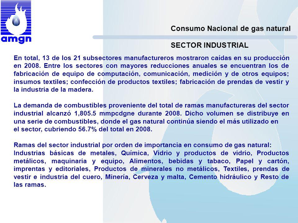 Consumo Nacional de gas natural En total, 13 de los 21 subsectores manufactureros mostraron caídas en su producción en 2008. Entre los sectores con ma