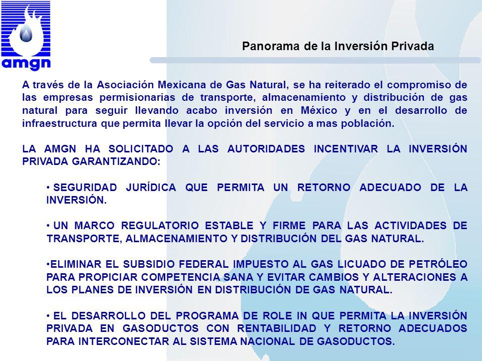 Panorama de la Inversión Privada A través de la Asociación Mexicana de Gas Natural, se ha reiterado el compromiso de las empresas permisionarias de tr
