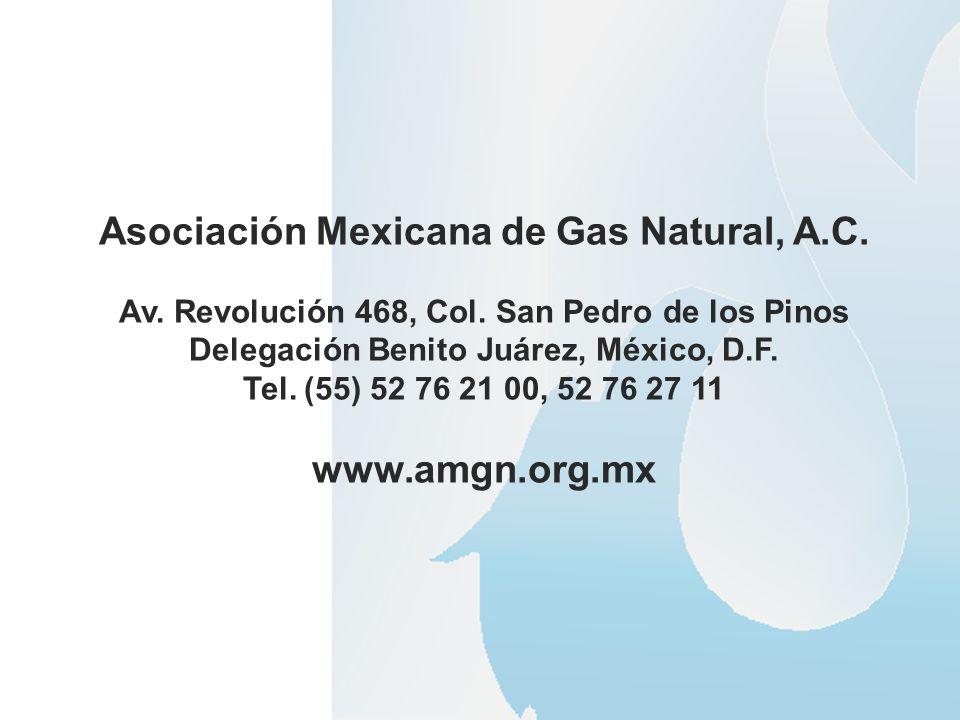 Asociación Mexicana de Gas Natural, A.C. Av. Revolución 468, Col. San Pedro de los Pinos Delegación Benito Juárez, México, D.F. Tel. (55) 52 76 21 00,