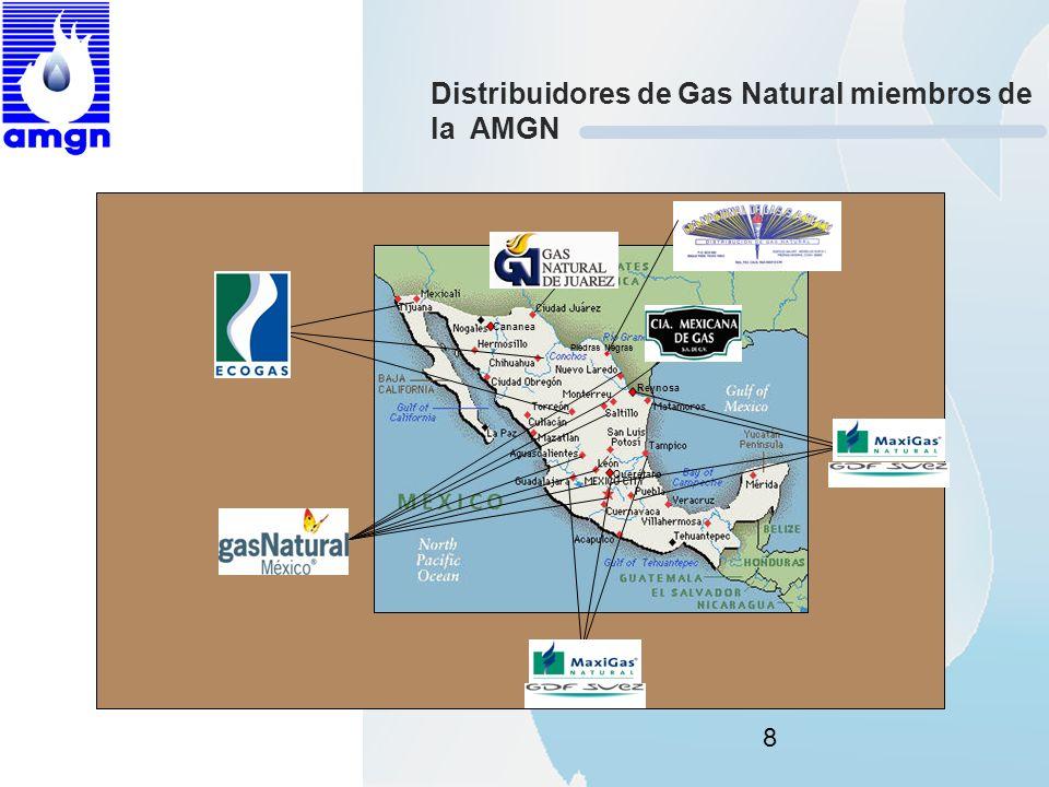 8 Distribuidores de Gas Natural miembros de la AMGN Reynosa Querétaro Piedras Negras Cananea